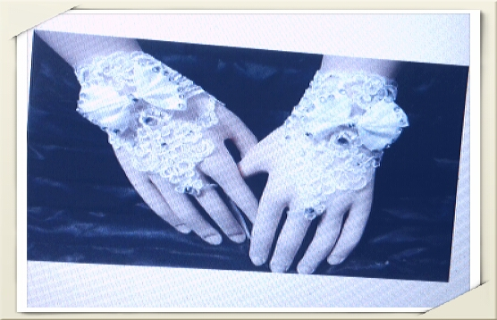 lace brides wedding  floral bowknotfingerless