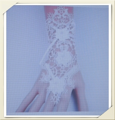 white lace hollow flower ring bracelet glove set